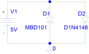 Circuit with Diode MBD101 and 1N4148