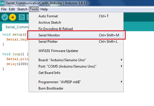 Open Serial Monitor of Arduino IDE